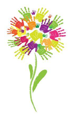 성장: 손바닥과 손가락의 꽃 프린트의 상징.