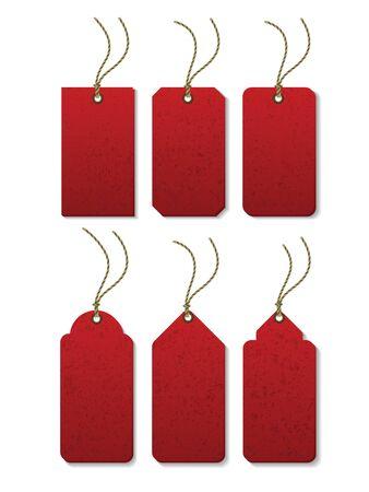 hilo rojo: Conjunto de etiqueta con cable con espacio para texto