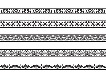 Set van de grenzen met de Arabische bloemen en geometrische ontwerpen.