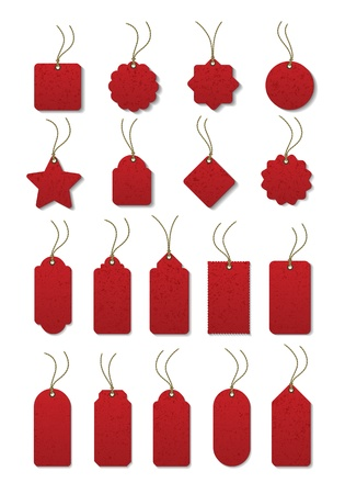 christmas savings: Set of red tag on the cord