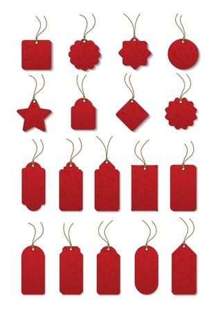 Set van rode label aan het snoer Vector Illustratie