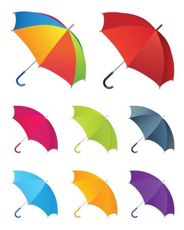 Set of umbrellas.isolated on white background objects. Vector