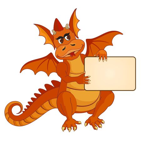 Illustration of an orange dragon with gift card. Vector