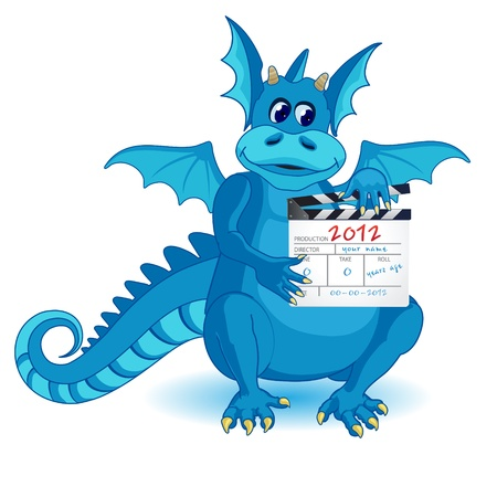 Illustration of a blue dragon, which is holding the frame to take Vector
