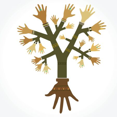 rings on a tree: Concept illustration. The tree with the hands to decorate the rings. Illustration