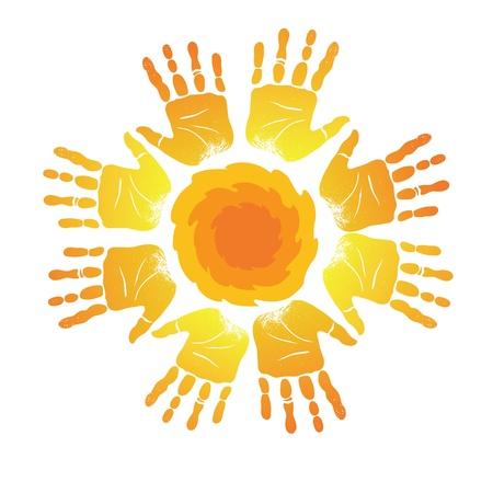 """słońce: Zarejestruj z sylwetkami odciski dÅ'oni w postaci t sÅ'oÅ""""ca"""