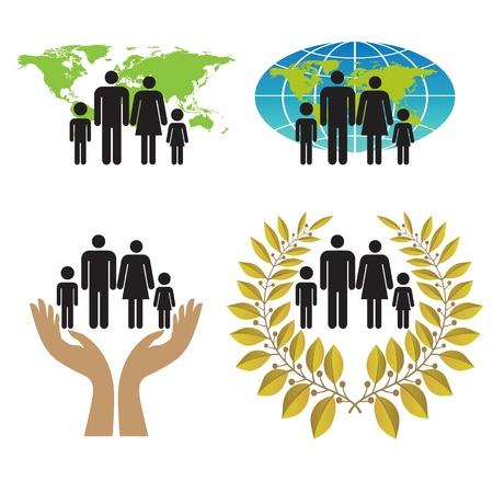 equidad: Un conjunto de signos y símbolos para preservar y proteger a la familia en el mundo. Vectores