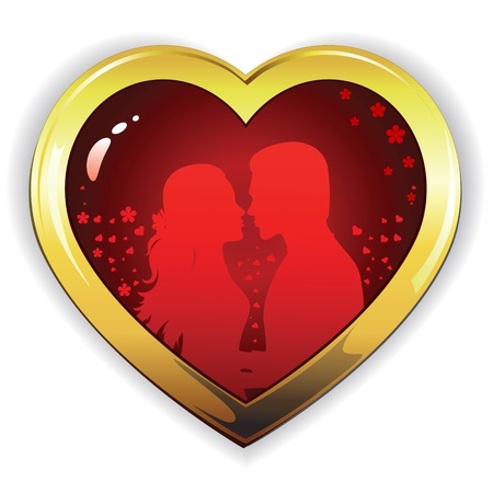 Heart silhouette of  girl and  guy in love. Vector