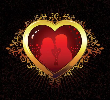 Heart silhouette of a girl and a guy in love Vector