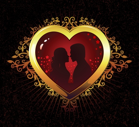 Heart silhouette of a girl and a guy in love. . Vector