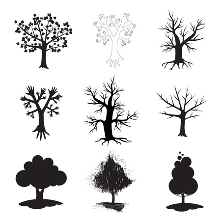 A set of sign of tree in black and white graphics. Vector
