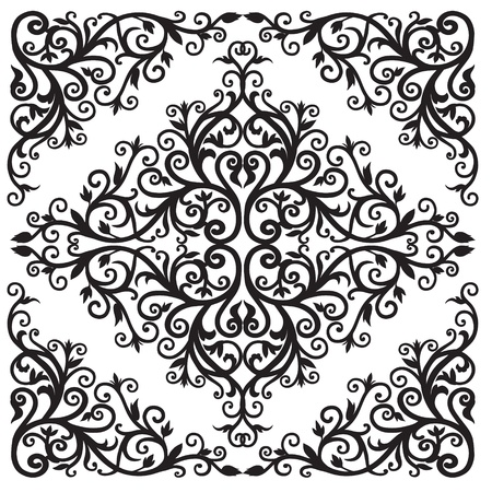 Background in the square with the Arab floral  Black and white graphics Ilustracja