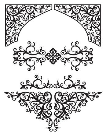 伝統: 装飾花のアラビア語黒と白のグラフィックスのセット