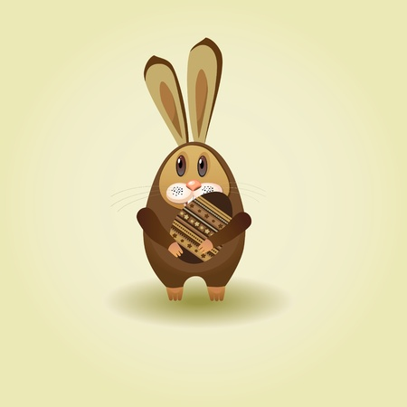 chocolate egg: Easter song. Chocolate bunny with eggs for Easter. Illustration