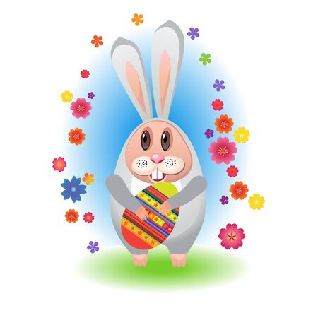 Easter song. Rabbit with eggs for Easter with flowers Stock Vector - 12929128