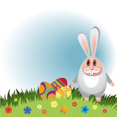 Illustration for Easter. Rabbit with eggs for Easter with flowers .. Vector