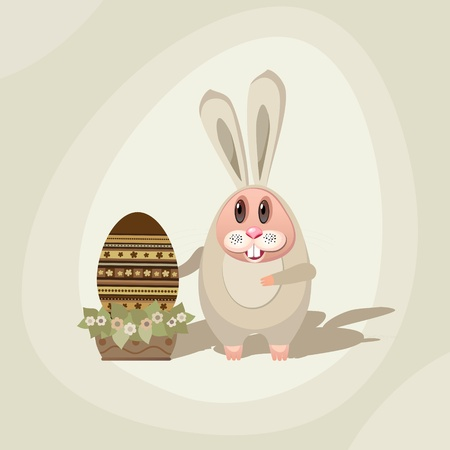 Illustration for Easter. Easter Bunny with the Easter egg in a pot with flowers. Stock Vector - 12929129