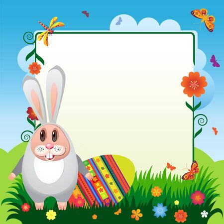butterflies for decorations: Illustration for Easter. Rabbit with eggs for Easter with flowers