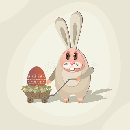 Illustration for Easter. Rabbit with the Easter egg in the cart with flowers. Stock Vector - 12929130