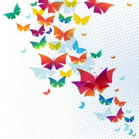 fender: Colorful background with butterflies
