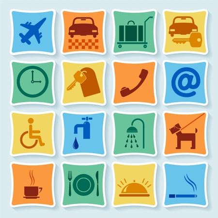 hostel: Set of icons, symbols for  hotel.