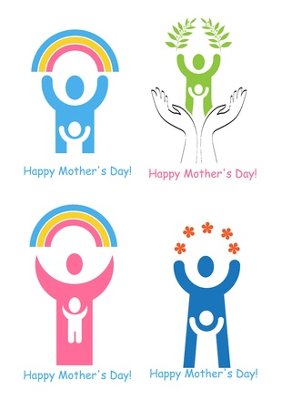 A set of signs and symbols for Mothers Day. Vector