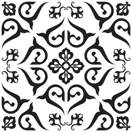 black carpet: Arabic ornament, rosette in square.