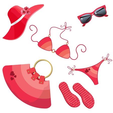 straw hat: Set for summer recreation for women  Illustration