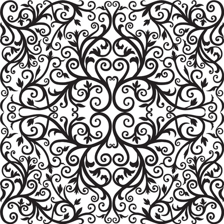 Arabic floral pattern  Black graphics Ilustracja