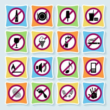 Set of signs forbidding people to communicate in hotel and city  Vector
