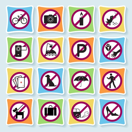 Set of signs forbidding people to communicate in hotel and city. Vector