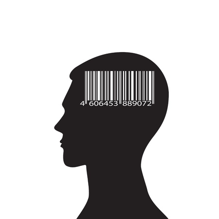 Conceptual idea with the silhouette of the head and the bar code. Illustration
