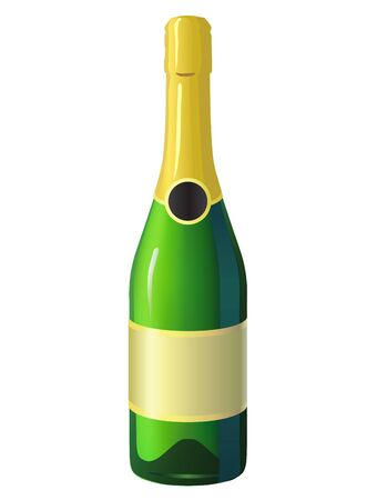 Image of a champagne bottle on white background Vector