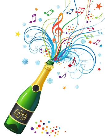 Illustration with a bottle of champagne and a decorative abstract composition Stock Vector - 16674538