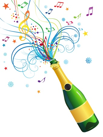 Illustration with a bottle of champagne and a decorative abstract composition  Vector