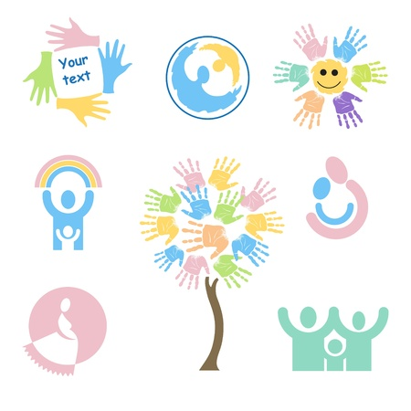 Set of childrens characters and symbols on the subject of family, motherhood, love for children and pregnancy. Vector