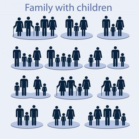 planificacion familiar: Set de iconos en una familia con un ni�o