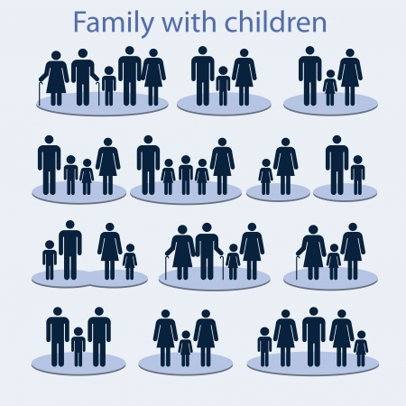 Set of icons on a family with a child