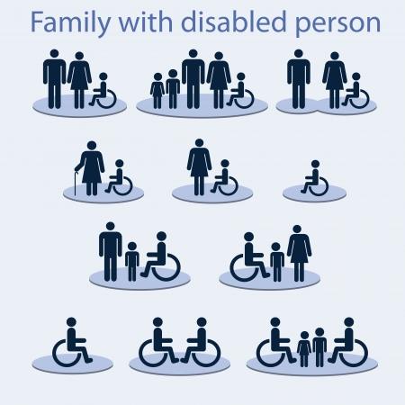 problemas familiares: Conjunto de iconos en un tema de una familia con una persona inv�lida