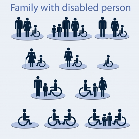 Set of icons on a theme  a family with a invalid person Vector