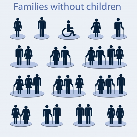 Set of icons on a family without children  Vector