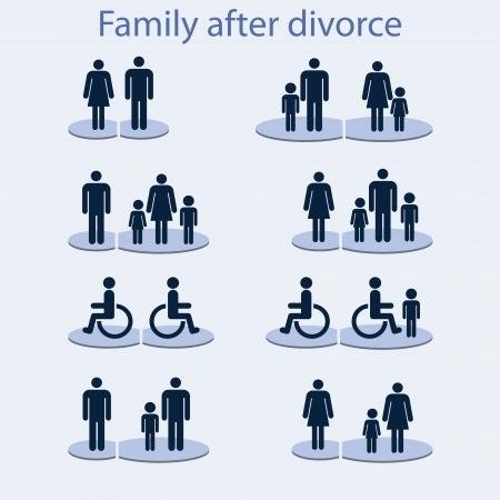 equidad: Conjunto de iconos en el tema de la familia con una persona discapacitada