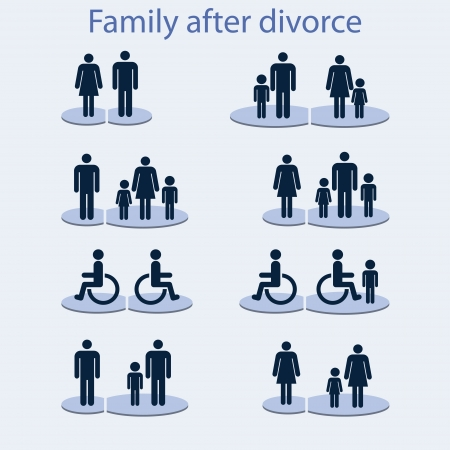 equity: Set of icons on  theme   family with  disabled person