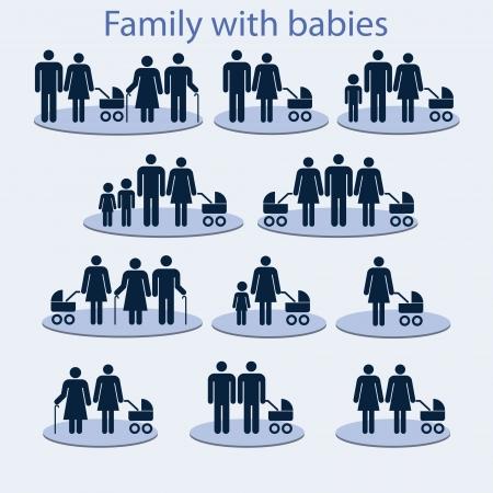 planificación familiar: Conjunto de iconos en el tema de la familia con el bebé Vectores