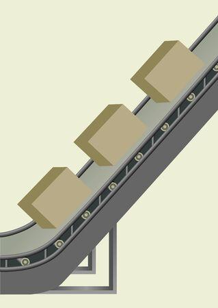 obligations: Image of a conveyor belt to transport boxes