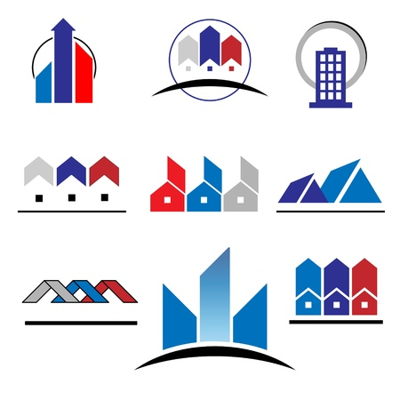 Set of characters on real estate and construction