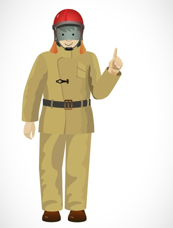 calzado de seguridad: Casco de bombero con un traje y protecci�n sobre un fondo blanco