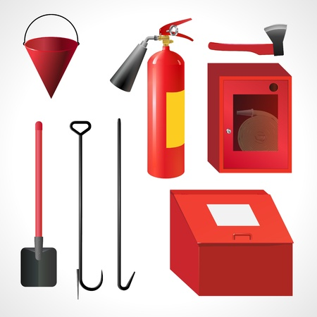 A set of tools on a white background to extinguish the fire   Vector