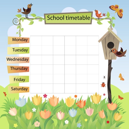 school schedule: Illustration with the image of spring  Background to the training schedule