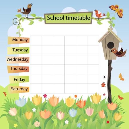calendario escolar: Ilustración con la imagen de fondo de la primavera con el programa de formación